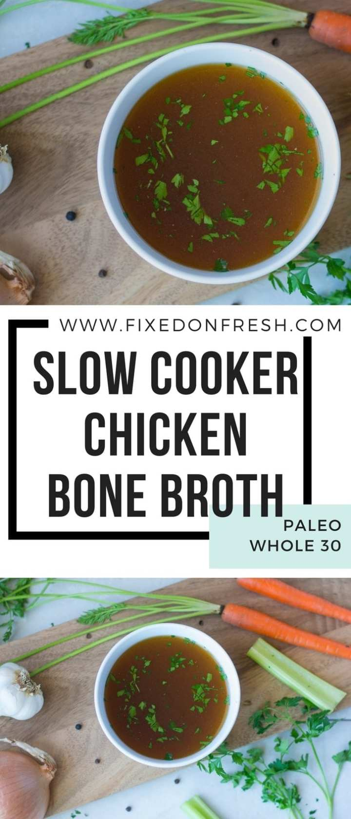 Slow Cooker Chicken Bone Broth from scratch is an easy recipe that will save you tons of money over buying store bought. Learn some of the health benefits of bone broth as well as some easy tips on how to make your own and store it. #bonebroth #recipe