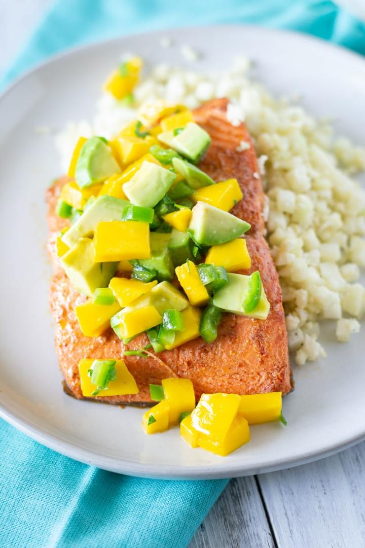 Chipotle Lime Salmon with Mango Avocado Salsa - Paleo, Whole 30 - Fixed on Fresh