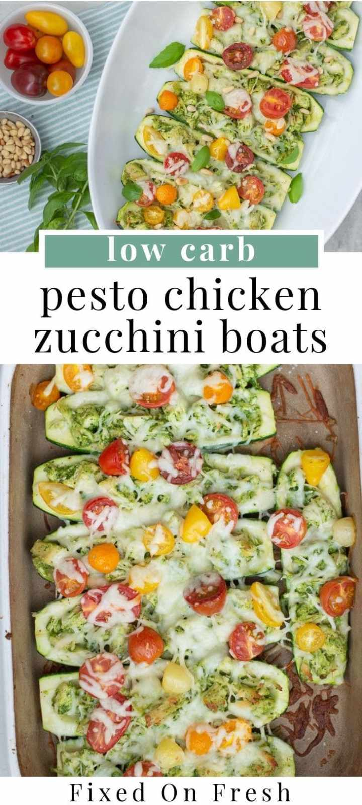 Low carb pesto chicken zucchini boats are stuffed with chicken coated with homemade pesto and sprinkled with cherry tomatoes and pine nuts. This is a great weeknight dinner because it whips up so fast! #lowcarb #weeknightdinner