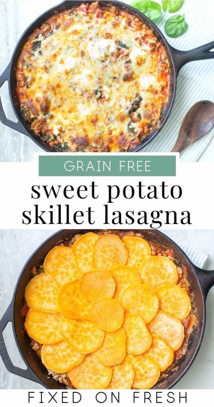 Skillet Sweet Potato Lasagna is a grain-free version of your favorite italian dinner recipe. Filled with tons of ground turkey, spinach, ricotta and sweet potatoes, this lower carb lasagna will be your new favorite. #sweetpotato #weeknightrecipe