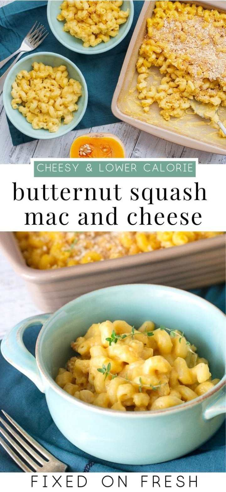 If you're looking for a cheesy baked mac and cheese with a healthy twist, check out butternut squash macaroni and cheese. Delicious with fewer calories because of the butternut squash! #thanksgivingrecipe #cheese