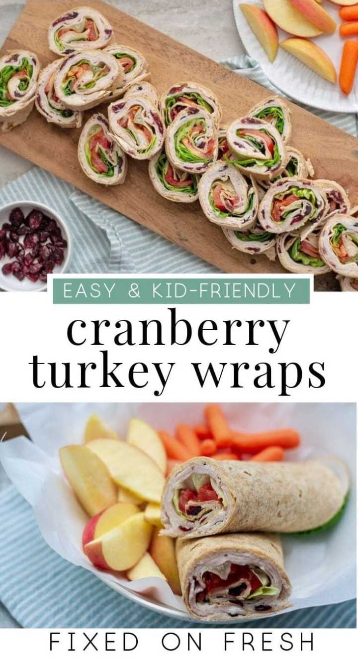Cranberry turkey wraps are a healthy, kid friendly lunch that can be made with turkey leftovers. Slice them up thin for a healthy appetizer. #snack #healthylunch