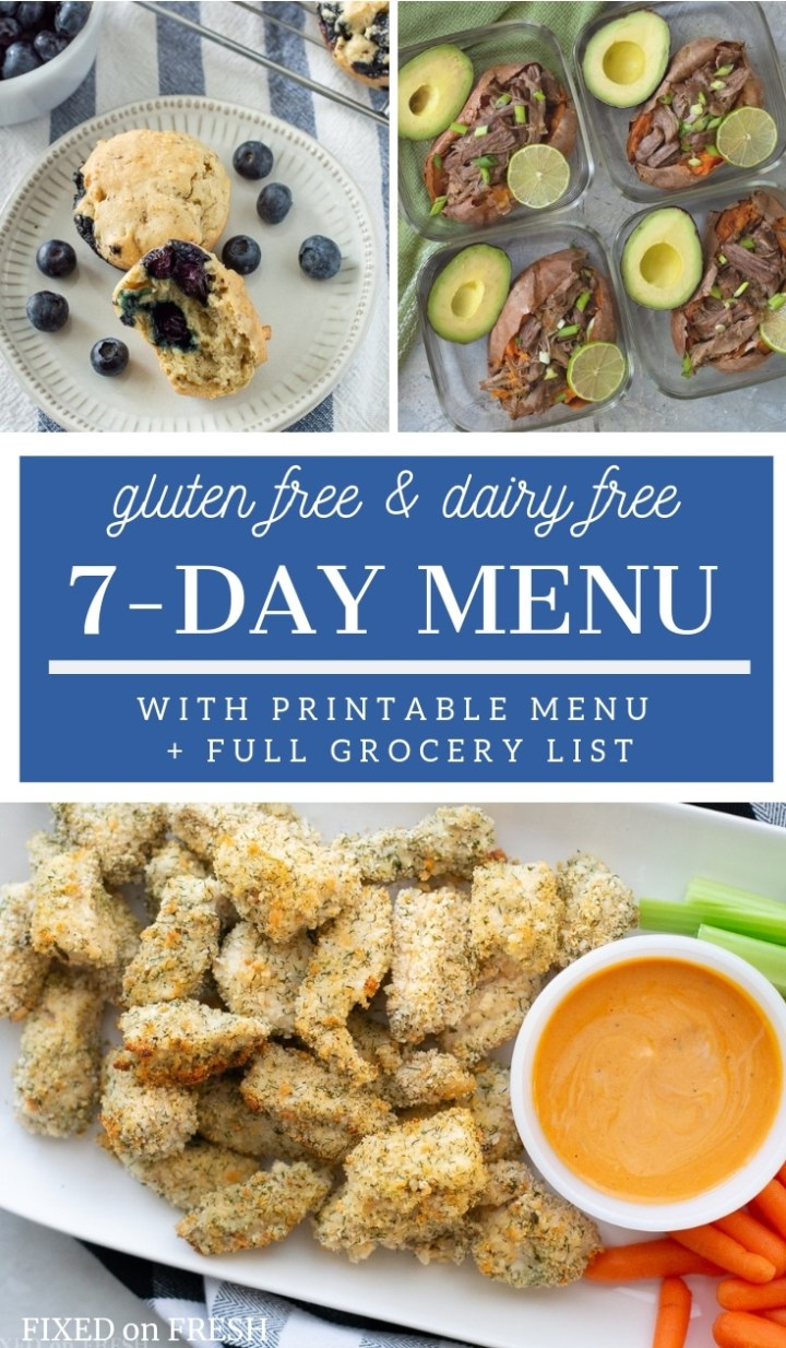 Healthy gluten free, dairy free meal plan or menu for a family of 4. The meal includes time saving tips, a full grocery list and 7 days breakfasts, lunches, snacks and dinner for the whole family. #glutenfree #dairyfree #mealplan #healthyeating