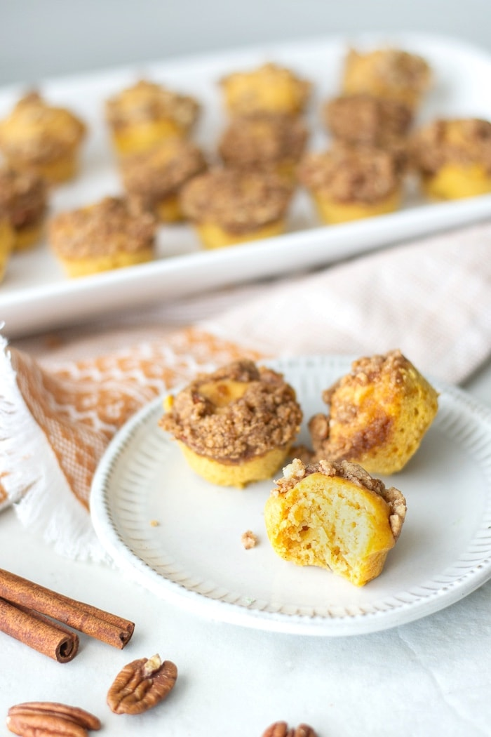 Sweet Potato Mini Muffins make an delicious make ahead breakfast or snack for kids or grownups. This easy recipe can be made gluten and dairy free, vegan or paleo. #muffins #sweetpotato