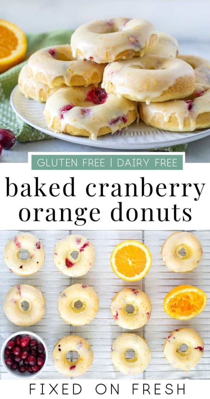 Baked Cranberry Orange Donuts have fewer calories that fried donuts are the perfect fall treat. Gluten free dough is bursting with fresh cranberries and topped with an orange glaze. #glutenfree #dairyfree