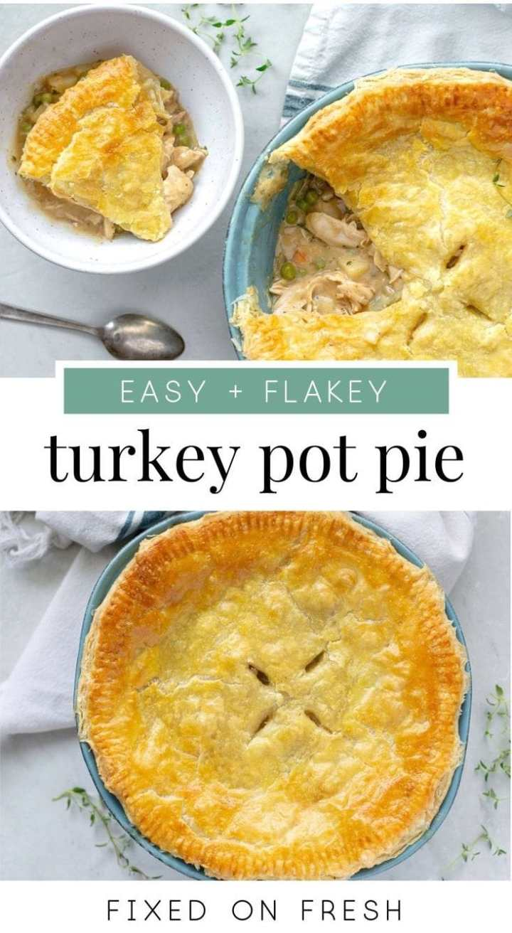Easy and flakey Turkey Pot Pie made with a puff pastry crust. This filling has potatoes, carrots, celery and peas with a creamy yogurt herb sauce. The perfect recipe for thanksgiving leftovers. #potpie #turkey #weeknightrecipe