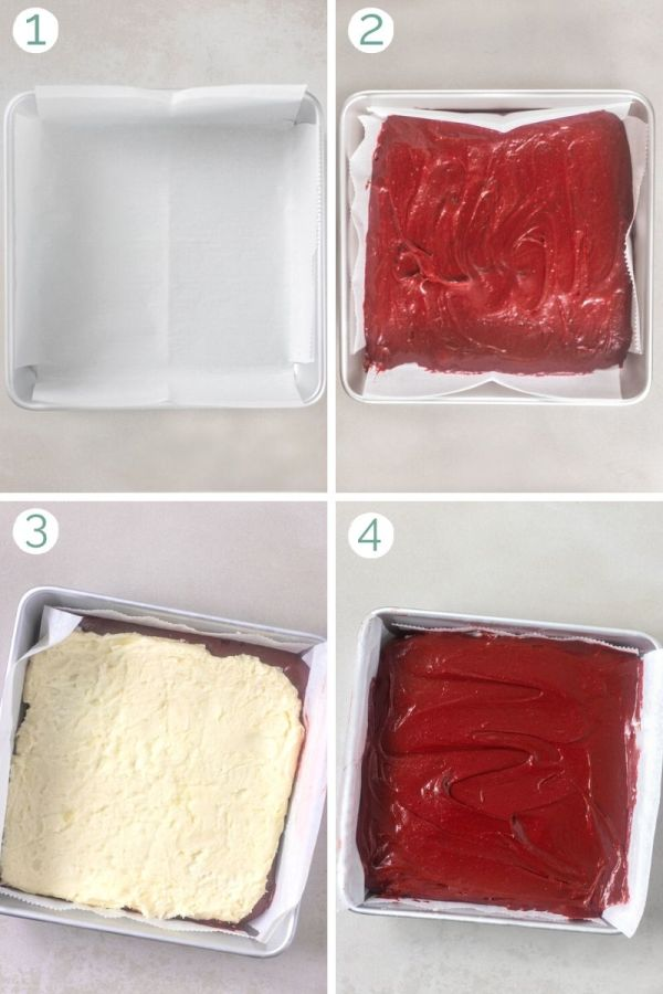 How to layer cream cheese stuffed red velvet brownies