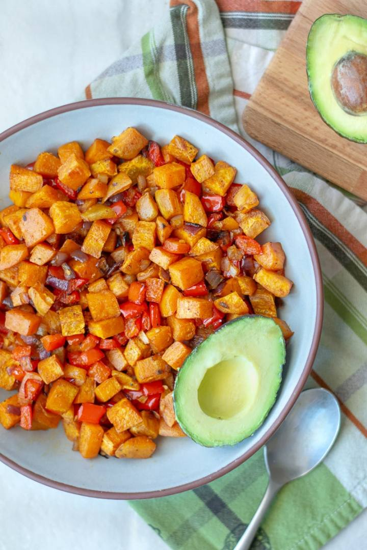 Sweet potato home fries, seasoned to perfection and baked until crispy are a delicious, whole30 breakfast option that's great for meal prep. #whole30 #paleo