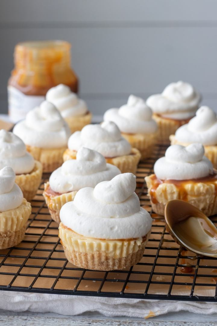 Fresh whipped cream topping and salted caramel sauce