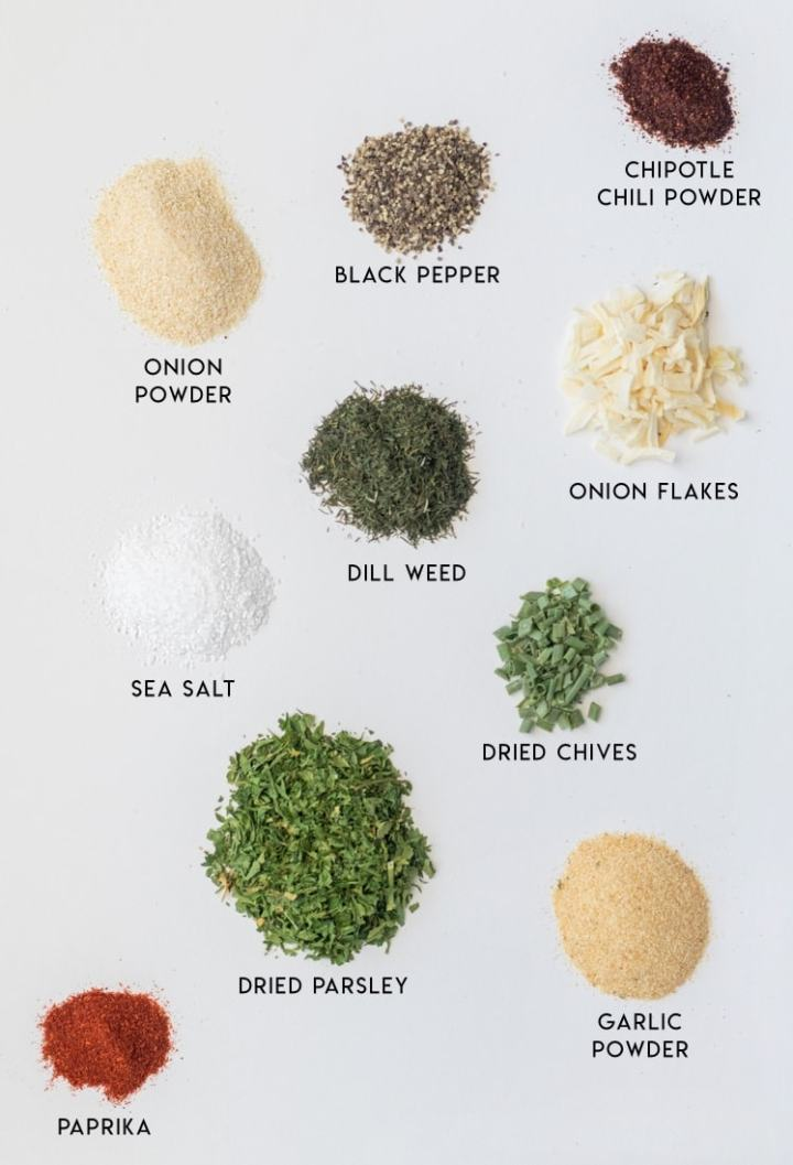 Labeled herbs and spices for seasoning blend