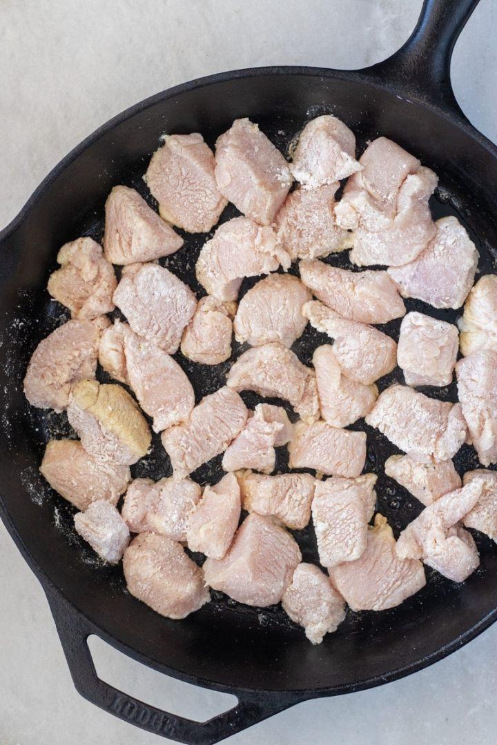 Flour coated chicken