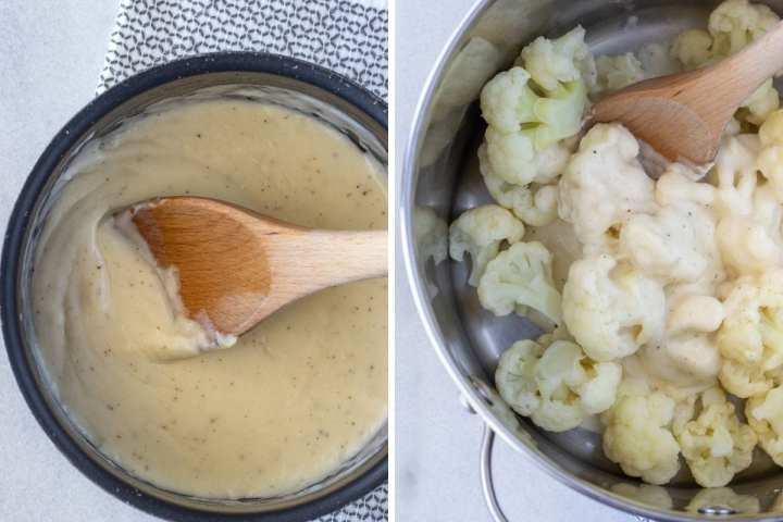 The cheese sauce and coating the cauliflower.