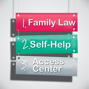 Family Law, Self-help, Access center sign