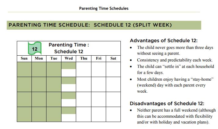 Equal parenting time calendar split week