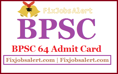 BPSC 64 Mains Admit Card 2019 Bihar PSC CCE Exam Date, Hall Ticket @ bpsc.bih.nic.in