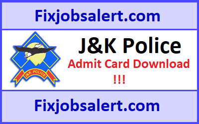 JK Police Constable Admit Card 2019 @ jkpolice.gov.in Hall Ticket~Exam Date