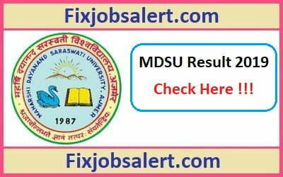MDSU BA, B.Sc, B.Com Result 2019 for 1st, 2nd, 3rd Year Results @ mdsuexam.org