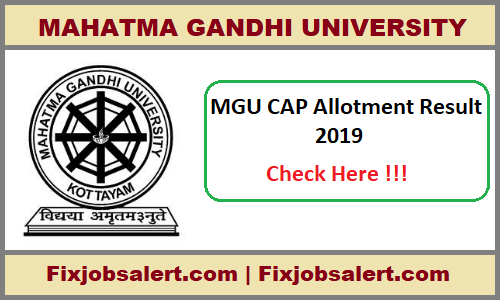 MG University PG Second Allotment Result 2019, MGU PGCAP 2nd
