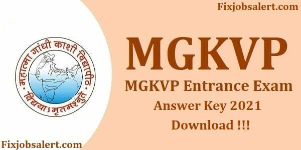 MGKVP Entrance Exam Answer Key 2021 Download Set Wise @ mgkvp.ac.in