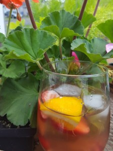 sangria and geraniums
