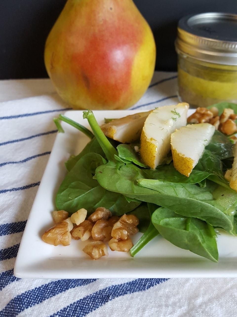 Spinach Pear Salad with Meyer Lemon Vinaigrette