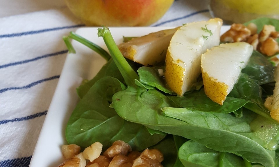Spinach Pear Salad with Meyer Lemon Vinaigrette