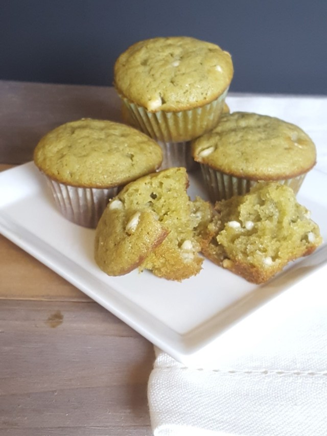 Matcha White Chocolate Mini Muffins