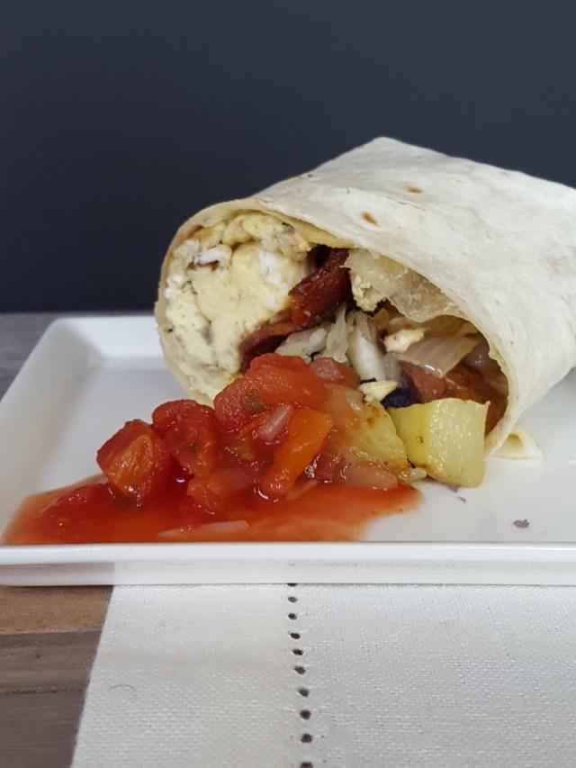 freezer egg, potato and bacon burritos