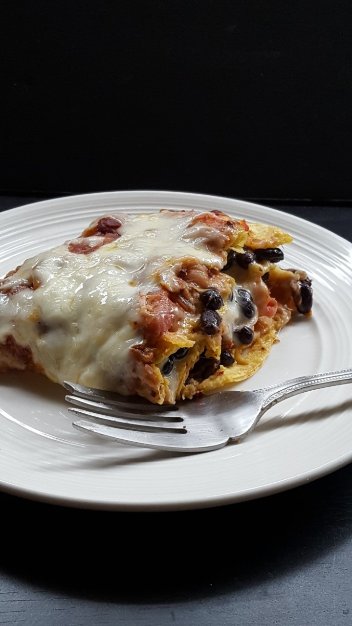 savory rhubarb strawberry black bean enchiladas