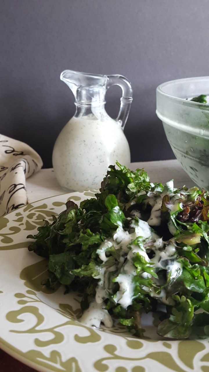 Kale Salad with Buttermilk Cucumber Dressing
