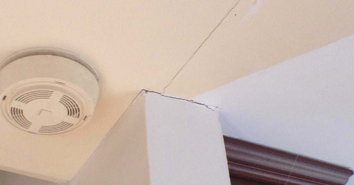 cracking and separating ceiling