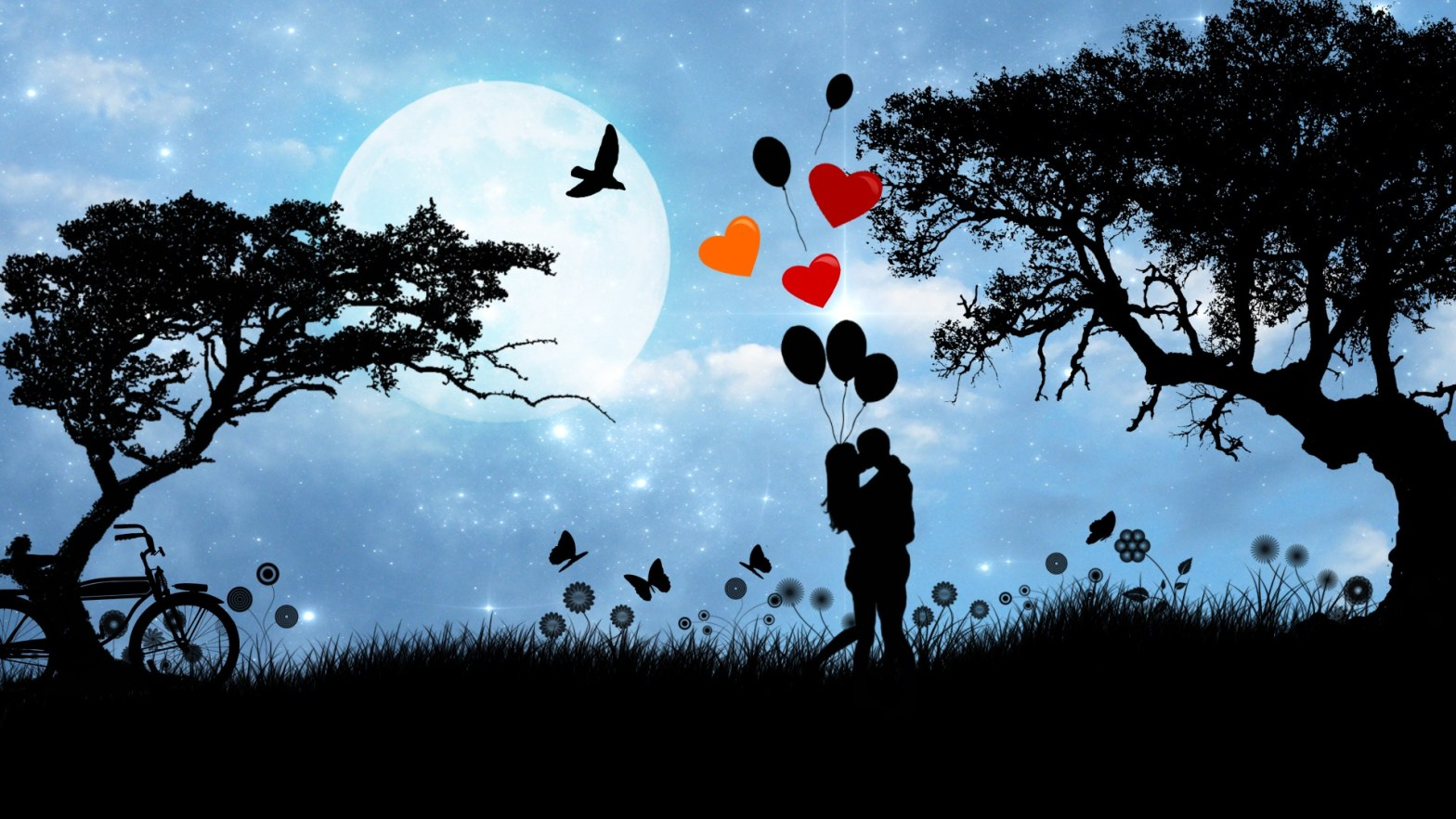 Silhouette of couple falling in love under a full moon