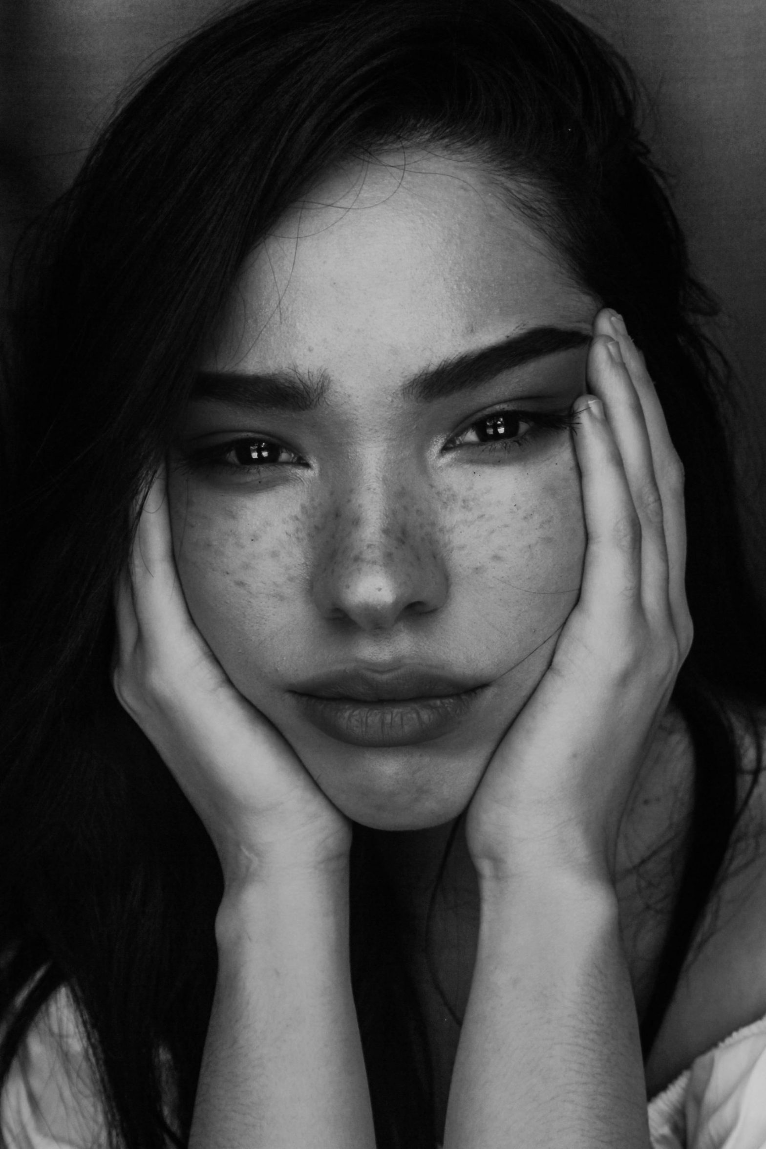 Black and white portrait of woman, emotional healing is hard