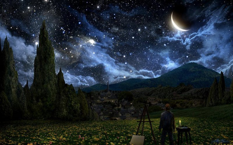 Starry Night Painting By Alex Ruiz (1)