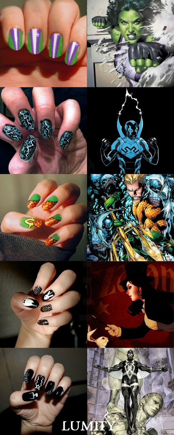 Comic Characters As Manicure Art