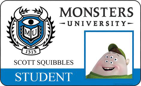 monsters university id cards