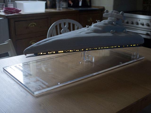 Light Up Star Destroyer Birthday Cake