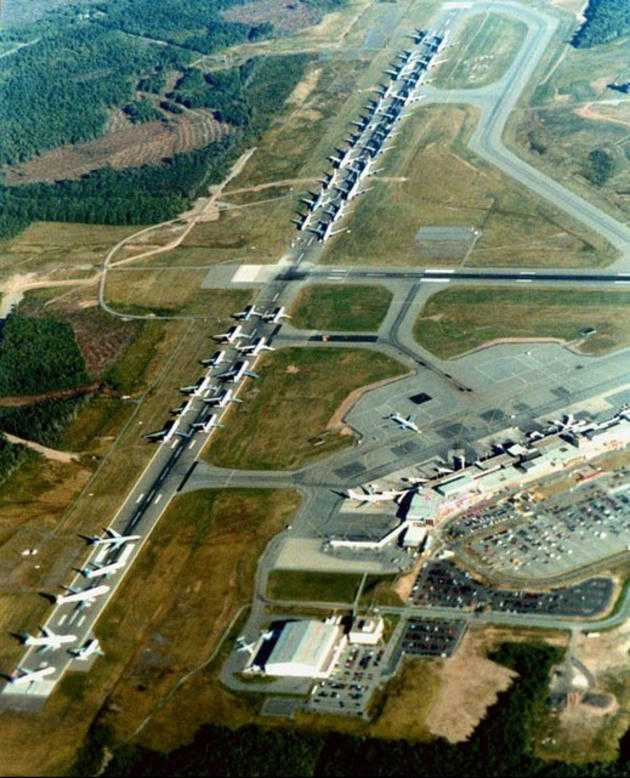 Grounded aircraft on September 11, 2001 await orders.