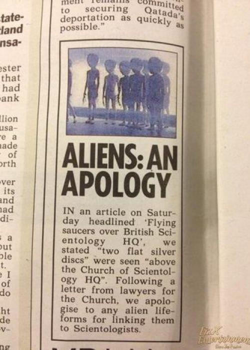 British Tabloid Apologizes to Aliens