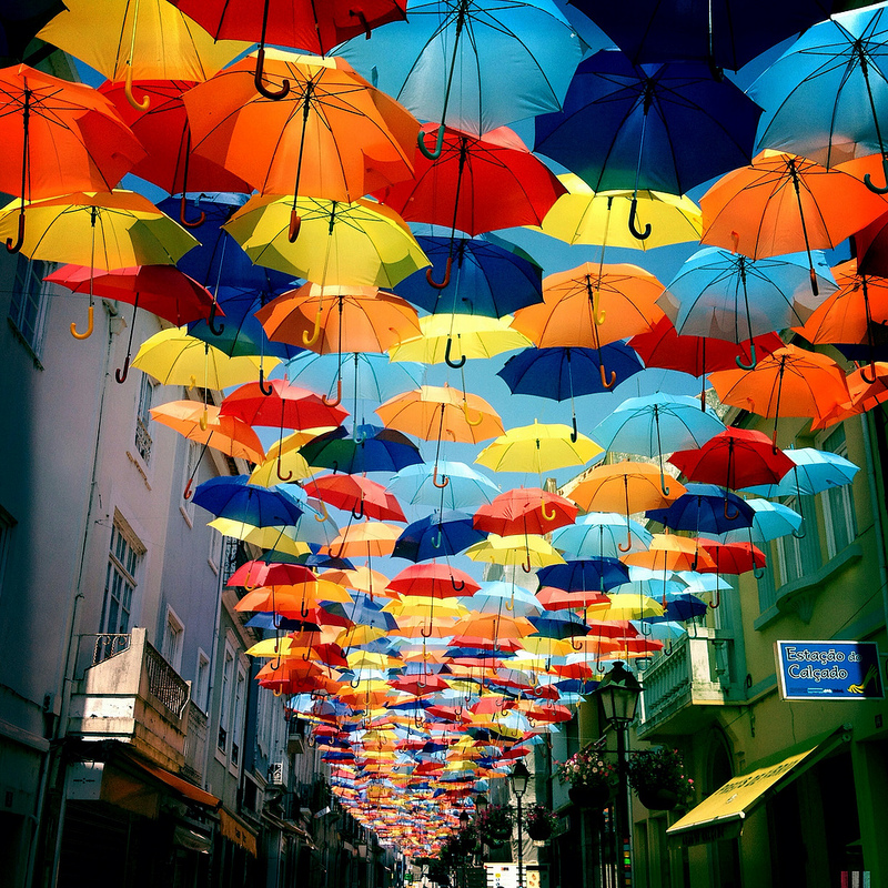 Umbrella-Lined Streets of Agueda, Portugal