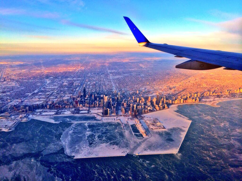 freezing chicago from airplane
