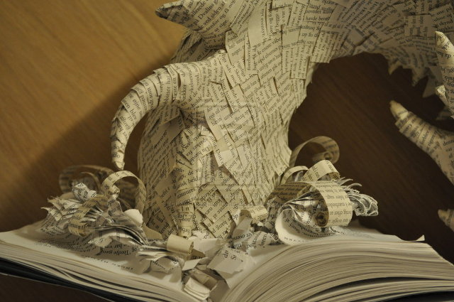 Book Sculpture Smaug Emerging From 'The Hobbit'