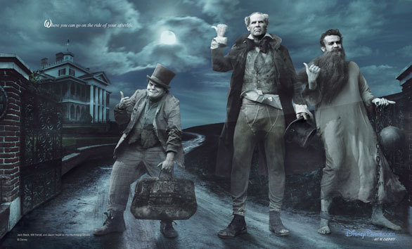 Actors Jack Black, Will Ferrell and Jason Segel as the Hitchhiking Ghosts from the Haunted Mansion.