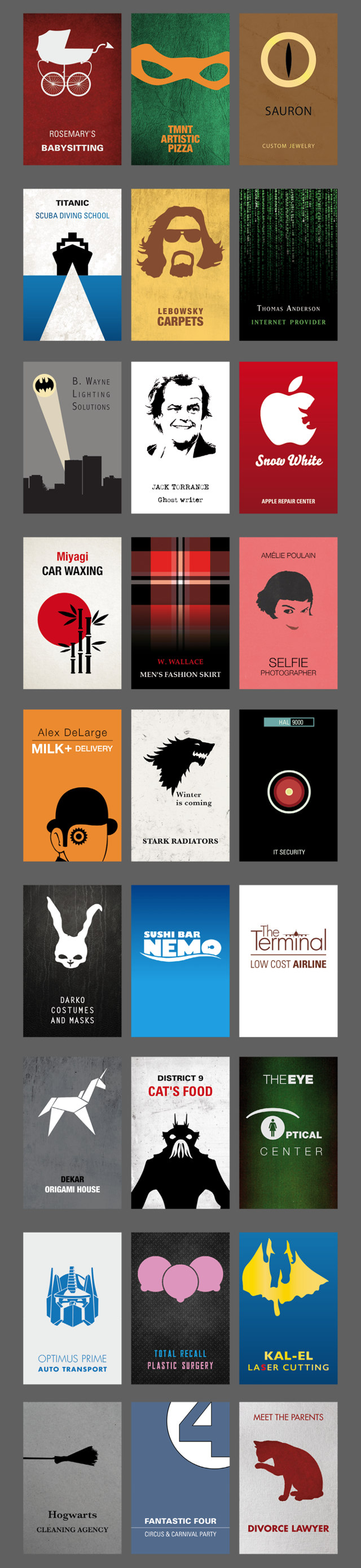 Business Cards For Fictional Movie Characters Starting Their Own Businesses