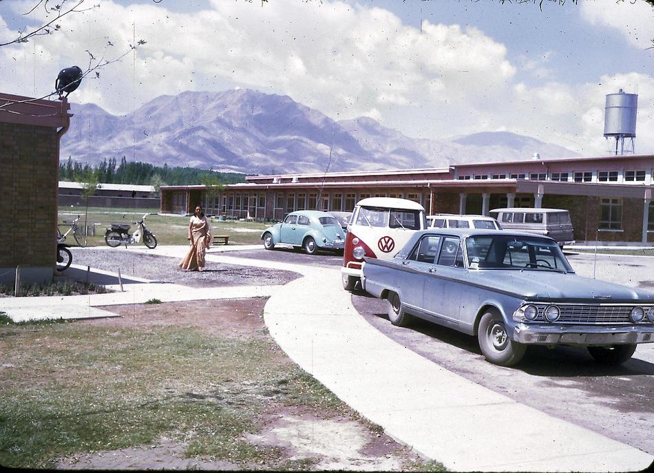 Parking lot of the American International School of Kabul.