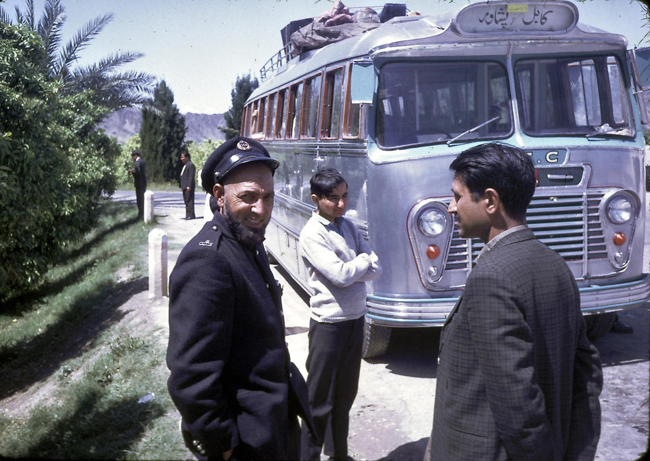 A stop during the Podlich family's bus trip through the Khyber Pass.