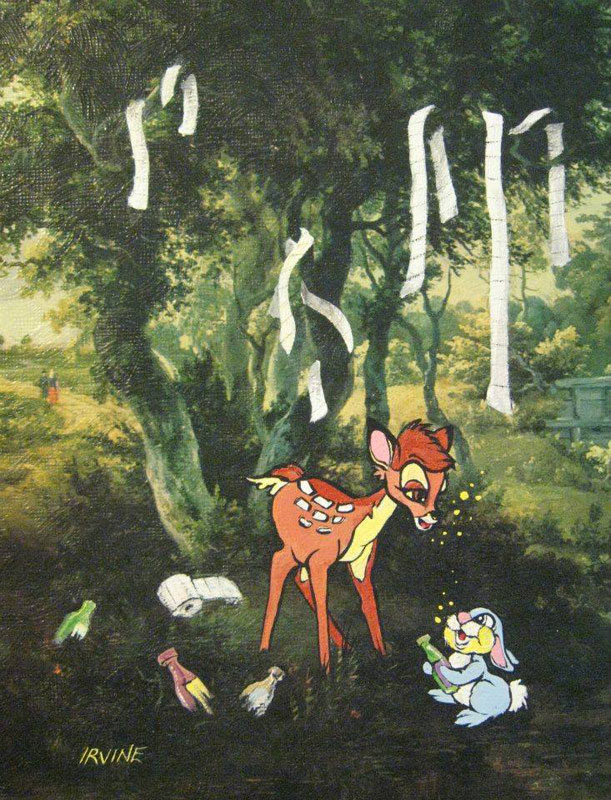 adding-characters-to-thrift-store-paintings-by-david-irvine-gnarled-branch-2