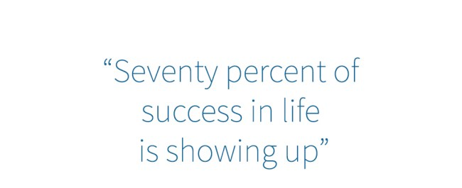 seventy percent of success in life is showing up