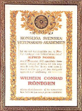Nobel Diploma of Röntgen