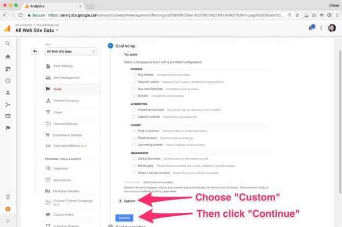 Choose 'Custom' then click 'Continue'